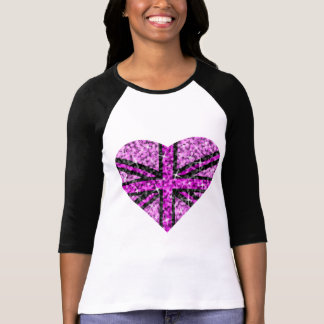 Sparkle Look UK Pink Heart Black 3/4 sleeve T-Shirt