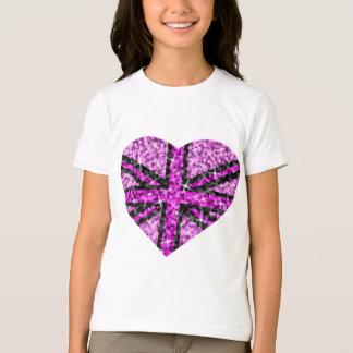 Sparkle Look UK Pink Heart Black girls ringer T-Shirt