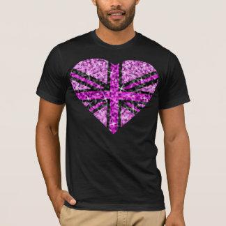 Sparkle Look UK Pink Heart Black  t-shirt black