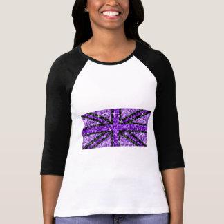 Sparkle Look UK Purple Black ladies 3/4 sleeve T-Shirt