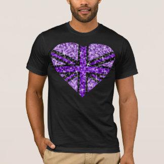 Sparkle Look UK Purple Heart Black  t-shirt black