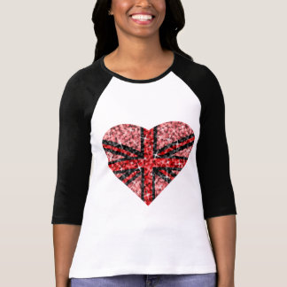 Sparkle Look UK Red Heart Black 3/4 sleeve T-Shirt