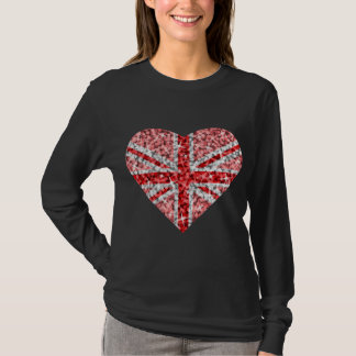 Sparkle Look UK Red Heart long sleeve black T-Shirt
