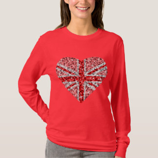Sparkle Look UK Red Heart long sleeve red T-Shirt
