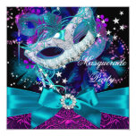 "Sparkle Mask & Bow Masquerade Party Invitation 5.25"" Square Invitation Card"