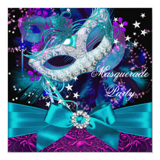 Sparkle Mask & Bow Masquerade Party Invitation