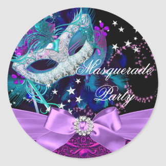 Sparkle Mask & Bow Masquerade Party Sticker Round Stickers