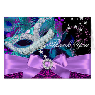 Sparkle Mask & Bow Masquerade Thank You Card