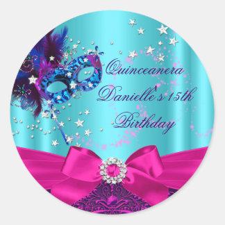 Sparkle Mask & Bow Quinceanera Birthday Sticker Round Sticker