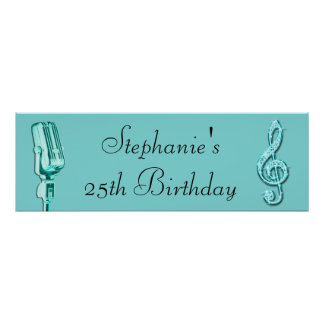 Sparkle Music Note and Retro Microphone Birthday Poster