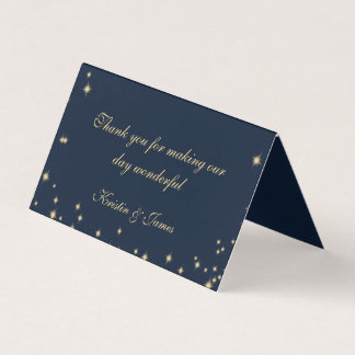 Sparkle Navy Blue and Gold Seating Place Card
