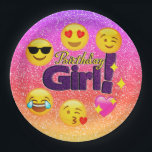 """Sparkle Ombre Birthday Girl Emoji Paper Plates<br><div class=""""desc"""">Have some fun at her birthday party this year with our fun,  girly,  cute and trendy glittery emoji birthday girl paper plates.</div>"""