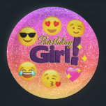 "Sparkle Ombre Birthday Girl Emoji Paper Plates<br><div class=""desc"">Have some fun at her birthday party this year with our fun,  girly,  cute and trendy glittery emoji birthday girl paper plates.</div>"