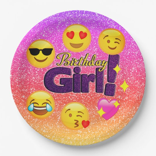Sparkle Ombre Birthday Girl Emoji Paper Plates