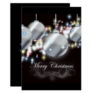 sparkle ornament simple Corporate Christmas Party Card