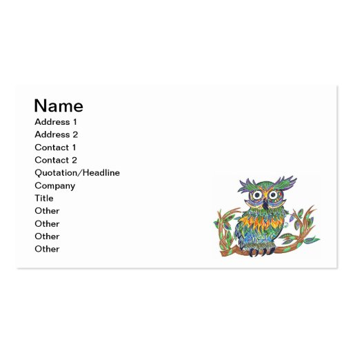 Sparkle Owl Double-Sided Standard Business Cards (Pack Of 100)
