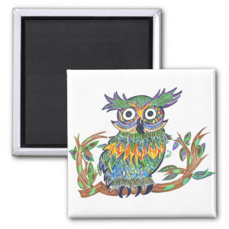 Sparkle Owl 2 Inch Square Magnet