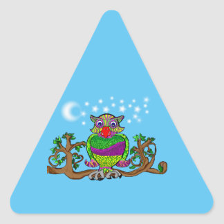Sparkle Owl Triangle Sticker