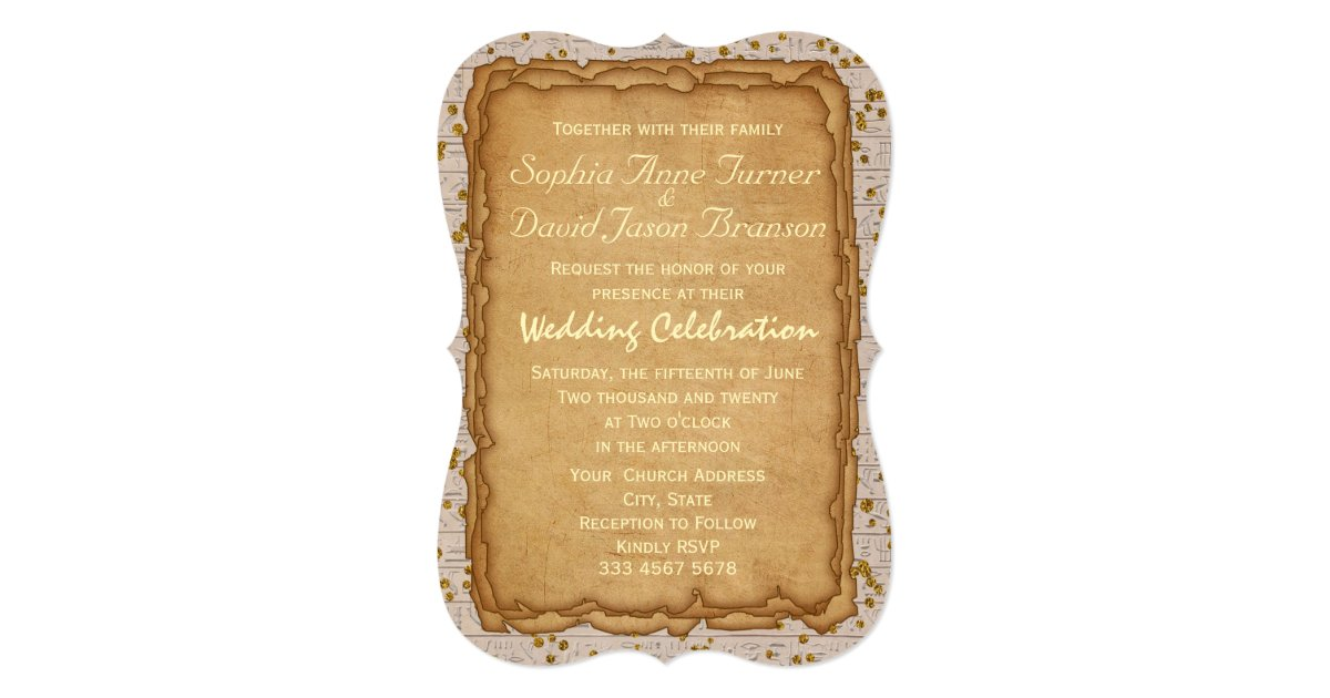 Papyrus Wedding Invitations: Sparkle Papyrus Ancient Wedding Invitation