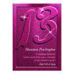 Sparkle Pink 13th Birthday Party Invitations