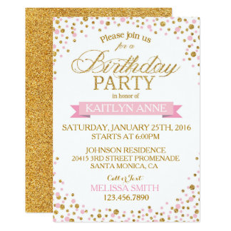Sparkle Pink and Gold Glitter Dots Birthday Card