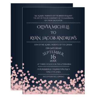 Sparkle Pink and Navy Confetti Gala Wedding Card
