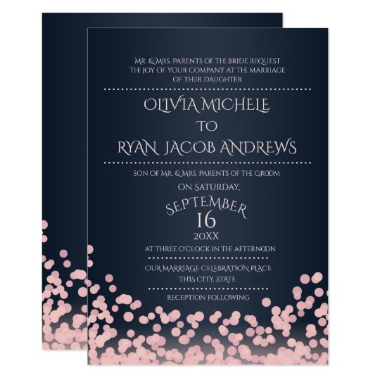 Sparkle Pink And Navy Confetti Gala Wedding Invitation
