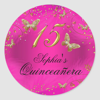 Sparkle Pink & Gold Butterfly Quinceanera Sticker