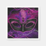 Sparkle Pink & Purple Mask Masquerade Party Napkin Paper Napkins