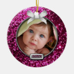 Sparkle Pink/Silver Bow Photo Christmas Ornament