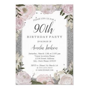 90th birthday invitations zazzle sparkle pink silver floral 90th birthday party invitation filmwisefo