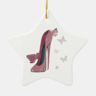 Sparkle Pink Stiletto and Butterfly's Art Ceramic Ornament