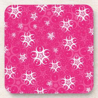 Sparkle Pink White Crop Circles Coaster