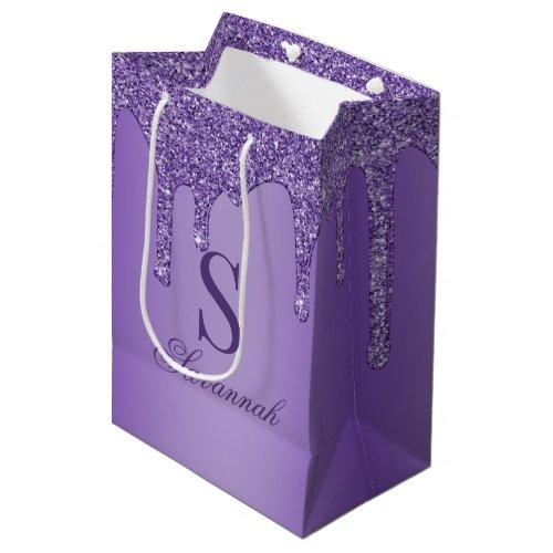 Sparkle Purple Glitter Drips Monogram Medium Gift Bag