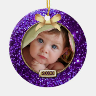 Sparkle Purple/Gold Bow Photo Double-Sided Ceramic Round Christmas Ornament