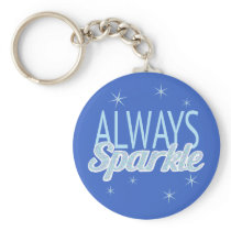 Sparkle quote glitter effect custom blue text keychain