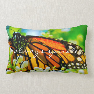 """""""Sparkle"""" Quote Orange Monarch Butterfly Photo Lumbar Pillow"""