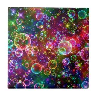 Sparkle Rainbow bubbles Tile