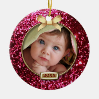 Sparkle Red/Gold Bow Photo Double-Sided Ceramic Round Christmas Ornament