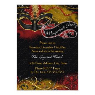 """Sparkle Red & Gold Feather Mask Masquerade Invite 5"""" X 7"""" Invitation Card"""