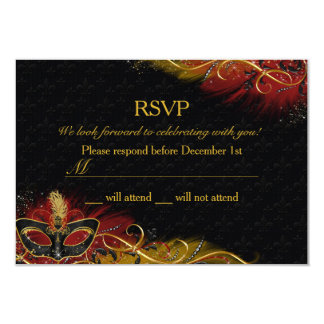 Sparkle Red & Gold Feather Mask Masquerade RSVP Card