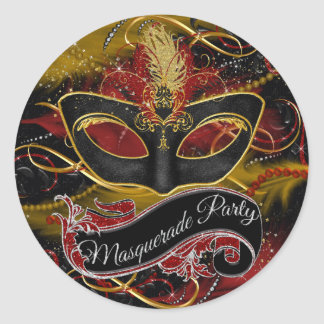 Sparkle Red & Gold Feather Mask Masquerade Sticker