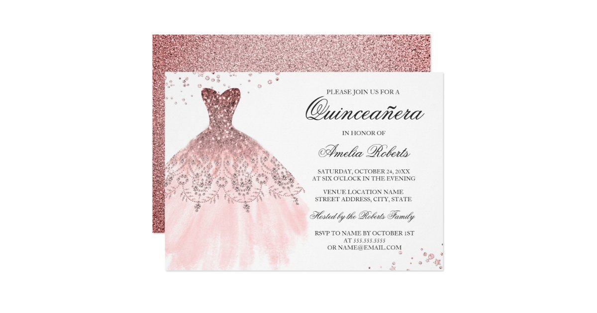 Sparkle Rose Gold Dress Quinceanera Invitation Zazzle Com