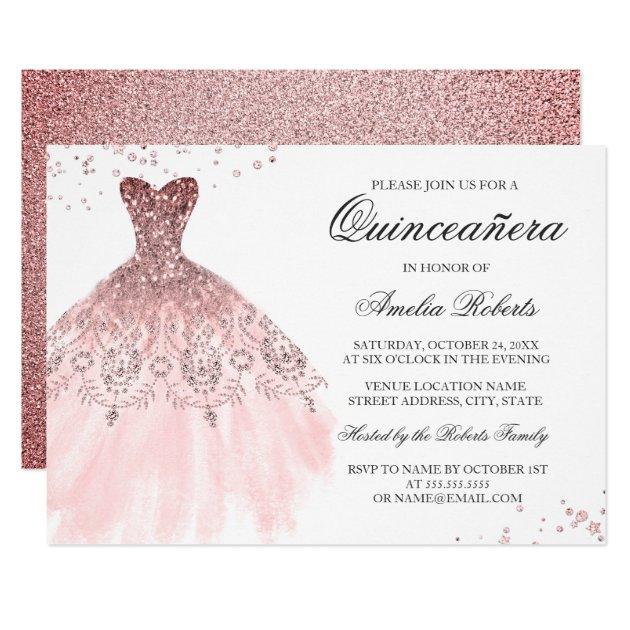 sparkle rose gold dress quinceanera invitation