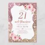 """Sparkle rose gold glitter and floral 21st birthday invitation<br><div class=""""desc"""">Faux rose gold sparkle glitter background and blush pink floral with """"21 and Glamorous"""" script in center,  elegant and stylish,  great 21st birthday party invitations.</div>"""