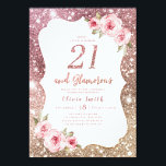 "Sparkle rose gold glitter and floral 21st birthday invitation<br><div class=""desc"">Faux rose gold sparkle glitter background and blush pink floral with ""21 and Glamorous"" script in center,  elegant and stylish,  great 21st birthday party invitations.</div>"