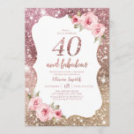 """Sparkle rose gold glitter and floral 40th birthday invitation<br><div class=""""desc"""">Faux rose gold sparkle glitter background and blush pink floral with """"40 and fabulous"""" script in center,  elegant and stylish,  great 40th birthday party invitations.</div>"""