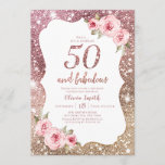 """Sparkle rose gold glitter and floral 50th birthday invitation<br><div class=""""desc"""">Faux rose gold sparkle glitter background and blush pink floral with """"50 and fabulous"""" script in center,  elegant and stylish,  great 50th birthday party invitations.</div>"""