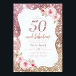 "Sparkle rose gold glitter and floral 50th birthday invitation<br><div class=""desc"">Faux rose gold sparkle glitter background and blush pink floral with ""50 and fabulous"" script in center,  elegant and stylish,  great 50th birthday party invitations.</div>"