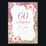 "Sparkle rose gold glitter and floral 60th birthday invitation<br><div class=""desc"">Faux rose gold sparkle glitter background and blush pink floral with ""60 and fabulous"" script in center,  elegant and stylish,  great 60th birthday party invitations.</div>"